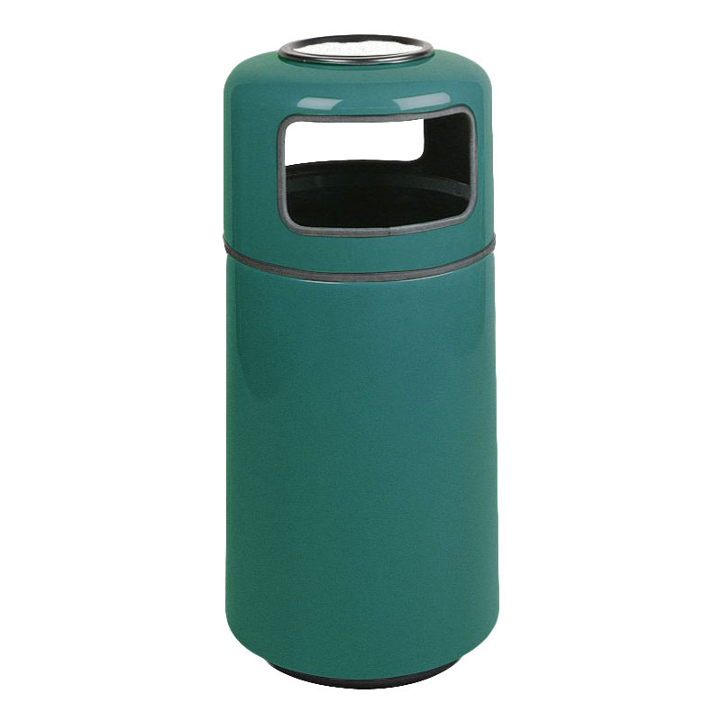 Rubbermaid FG1639SUPLFGN 15-gal Ash/Trash Receptacle - Sand Urn Top, Fiberglass, Forest Green