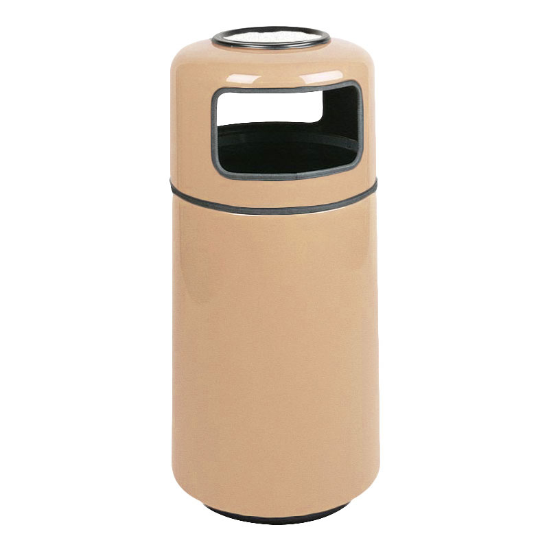 Rubbermaid FG1639SUPLTN 15-gal Ash/Trash Receptacle - Sand Urn Top, Fiberglass, Tan