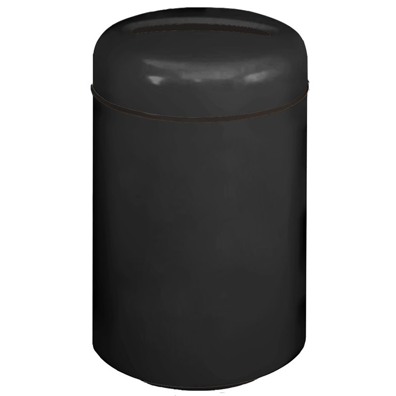 Rubbermaid FG1829PPLBK 20-gal Paper Recycling Receptacle - Round, Fiberglass, Black