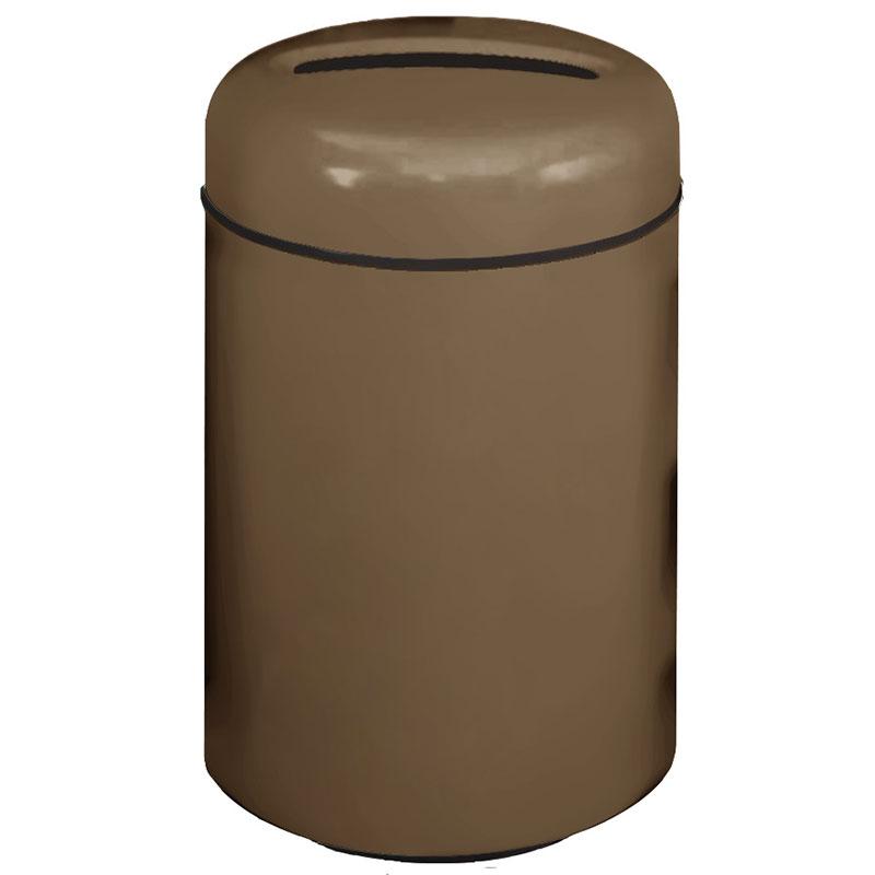Rubbermaid FG1829PPLBZ 20-gal Paper Recycling Receptacle - Round, Fiberglass, Bronze