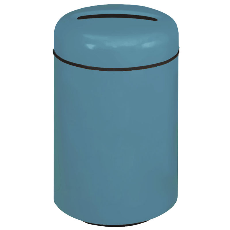 Rubbermaid FG1829PPLCBL 20-gal Paper Recycling Receptacle - Round, Fiberglass, Country Blue