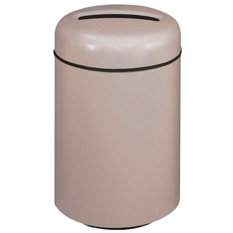 Rubbermaid FG1829PPLGE 20-gal Paper Recycling Receptacle - Round, Fiberglass, Greige