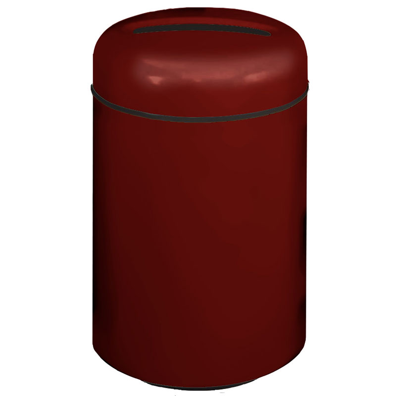 Rubbermaid FG1829PPLMN 20-gal Paper Recycling Receptacle - Round, Fiberglass, Maroon