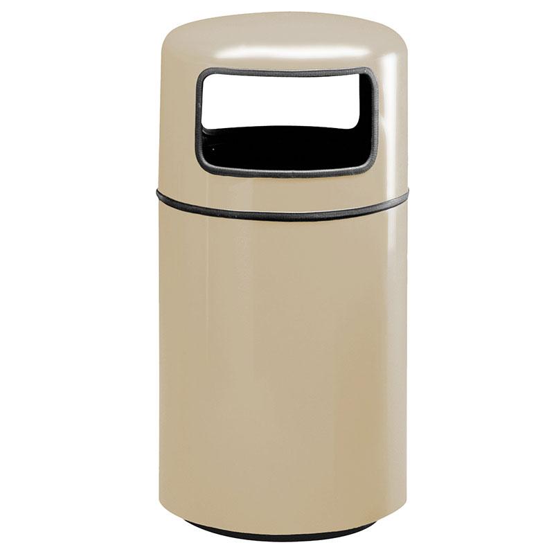 Rubbermaid FG1837PLWMB 20-gal Waste Receptacle - Covered Top, Fiberglass, Warm Brown