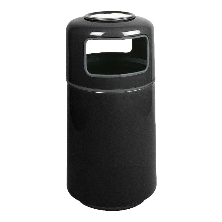 Rubbermaid FG1837SUPLBK 20-gal Ash/Trash Receptacle - Covered Top, Fiberglass, Black