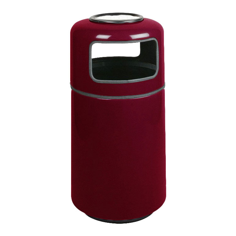 Rubbermaid FG1837SUPLBYW 20-gal Ash/Trash Receptacle - Covered Top, Fiberglass, Burgundy Wine