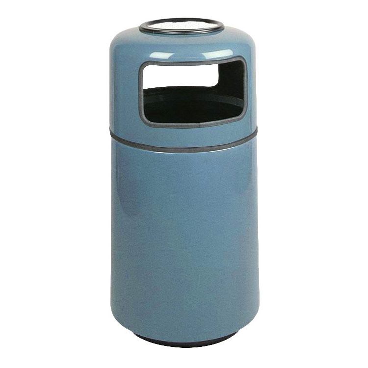 Rubbermaid FG1837SUPLCBL 20-gal Ash/Trash Receptacle - Covered Top, Fiberglass, Country Blue