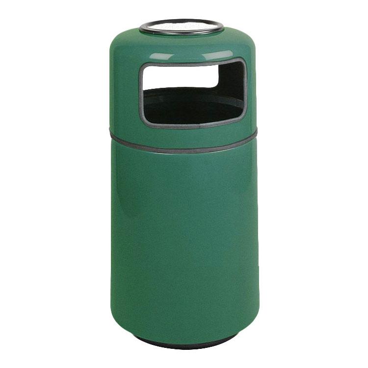 Rubbermaid FG1837SUPLEGN 20-gal Ash/Trash Receptacle - Covered Top, Fiberglass, Empire Green