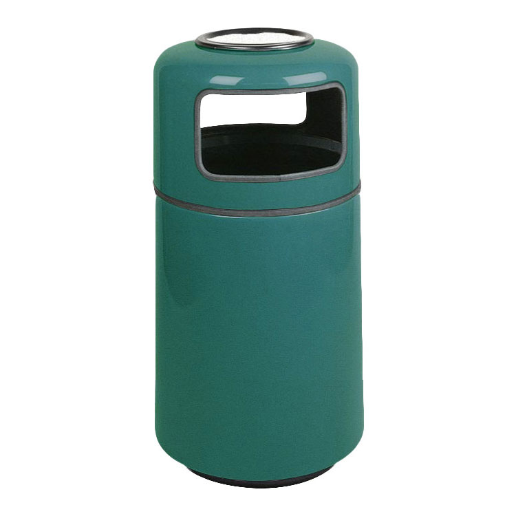 Rubbermaid FG1837SUPLFGN 20-gal Ash/Trash Receptacle - Covered Top, Fiberglass, Forest Green