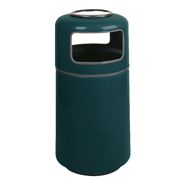 Rubbermaid FG1837SUPLHGN 20-gal Ash/Trash Receptacle - Covered Top, Fiberglass, Hunter Green