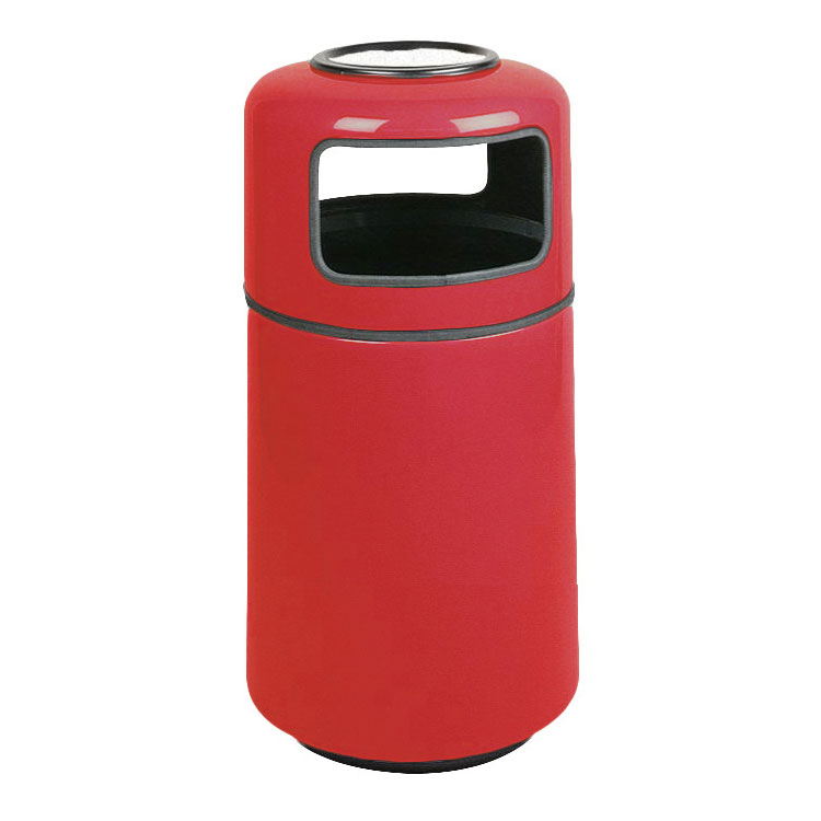 Rubbermaid FGFG1837SUPLRD 20-gal Ash/Trash Receptacle - Covered Top, Fiberglass, Red