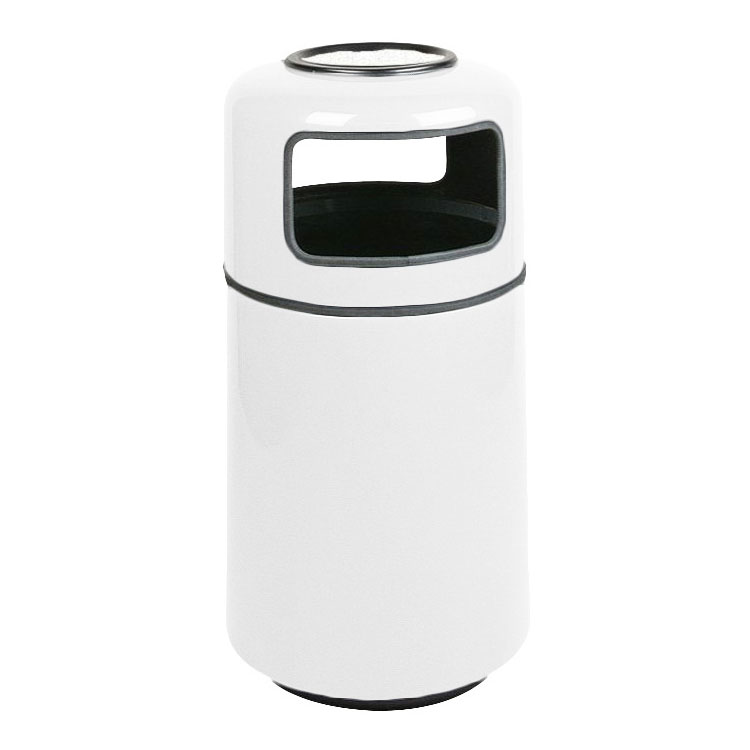 Rubbermaid FGFG1837SUPLWH 20-gal Ash/Trash Receptacle - Covered Top, Fiberglass, White