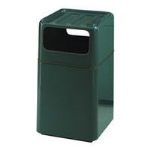 "Rubbermaid FGFG2037SQTRPLEG 29-gal Foodcourt Waste Receptacle - 20"" Square, Empire Green"