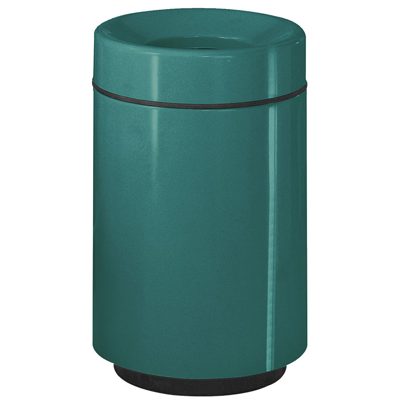 Rubbermaid FGFG2438PLFGN 50-gal Waste Receptacle - Open Top, Fiberglass, Forest Green