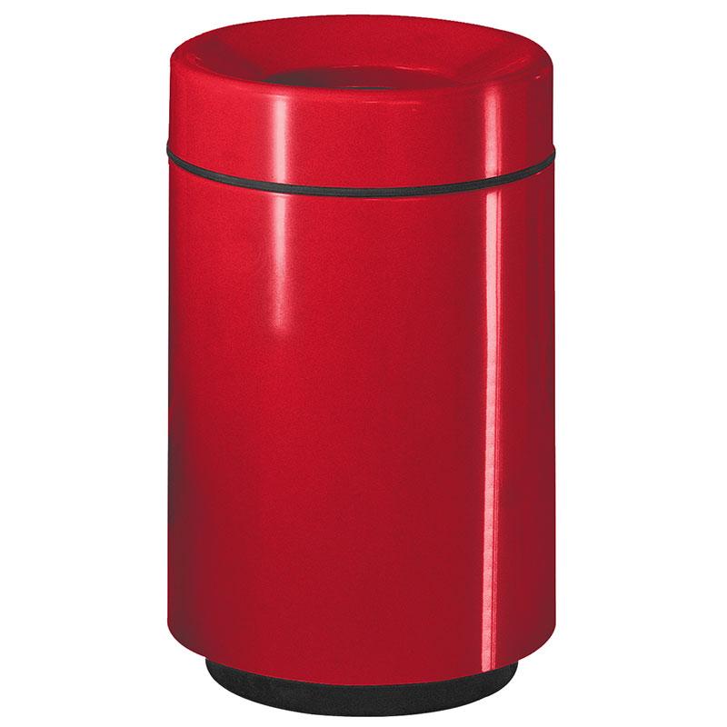 Rubbermaid FGFG2438PLRD 50-gal Waste Receptacle - Open Top, Fiberglass, Red
