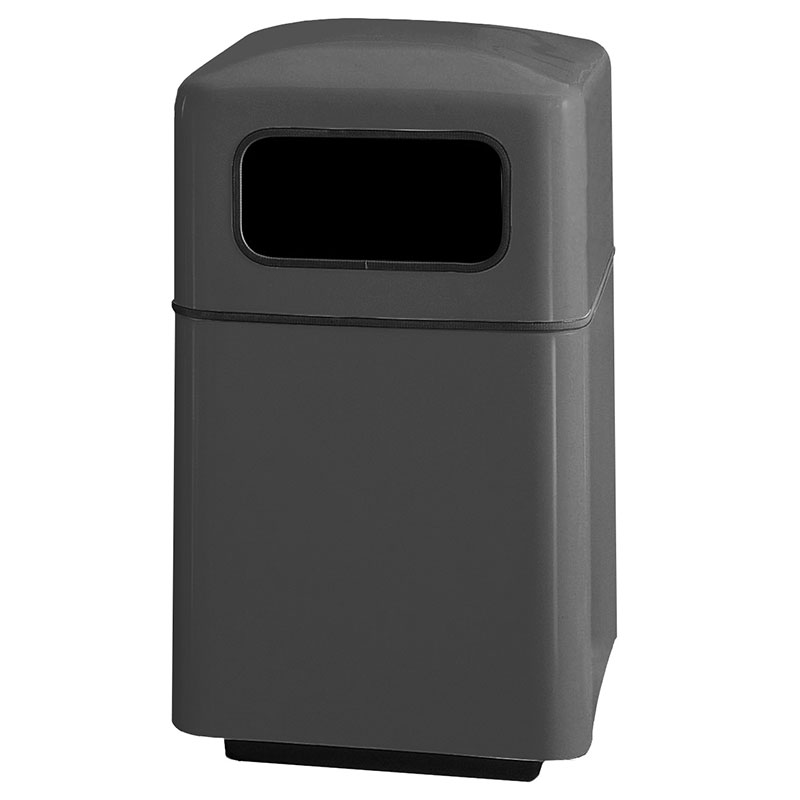 Rubbermaid FGFG2438SQPLCH 40-gal Square Waste Receptacle - Covered Top, Fiberglass, Charcoal
