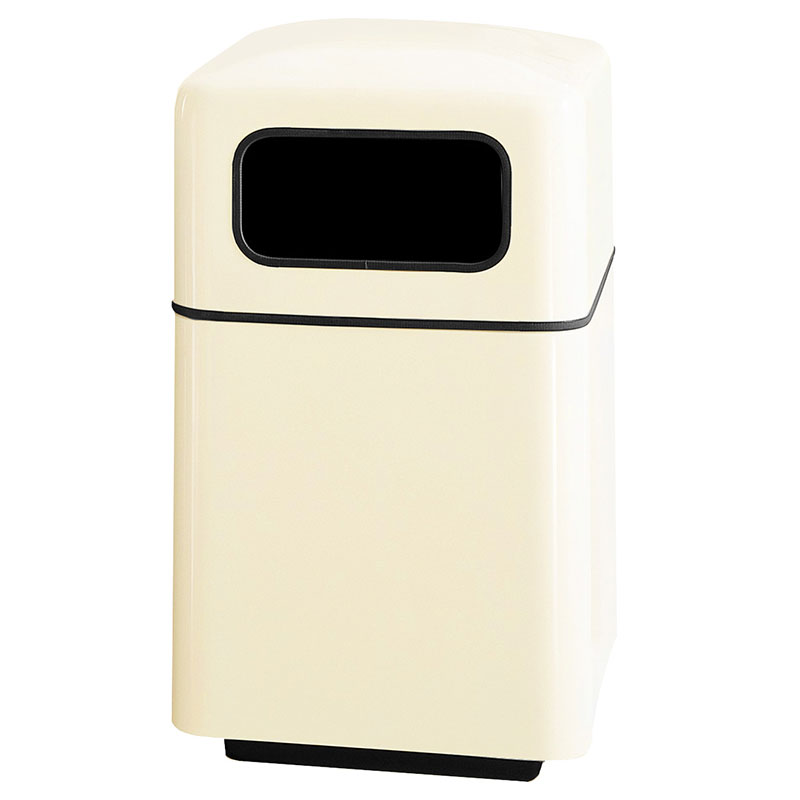 Rubbermaid FGFG2438SQPLIV 40-gal Square Waste Receptacle - Covered Top, Fiberglass, Ivory