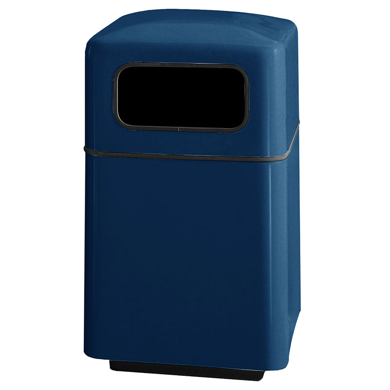 Rubbermaid FGFG2438SQPLNBL 40-gal Square Waste Receptacle - Covered Top, Fiberglass, Navy Blue