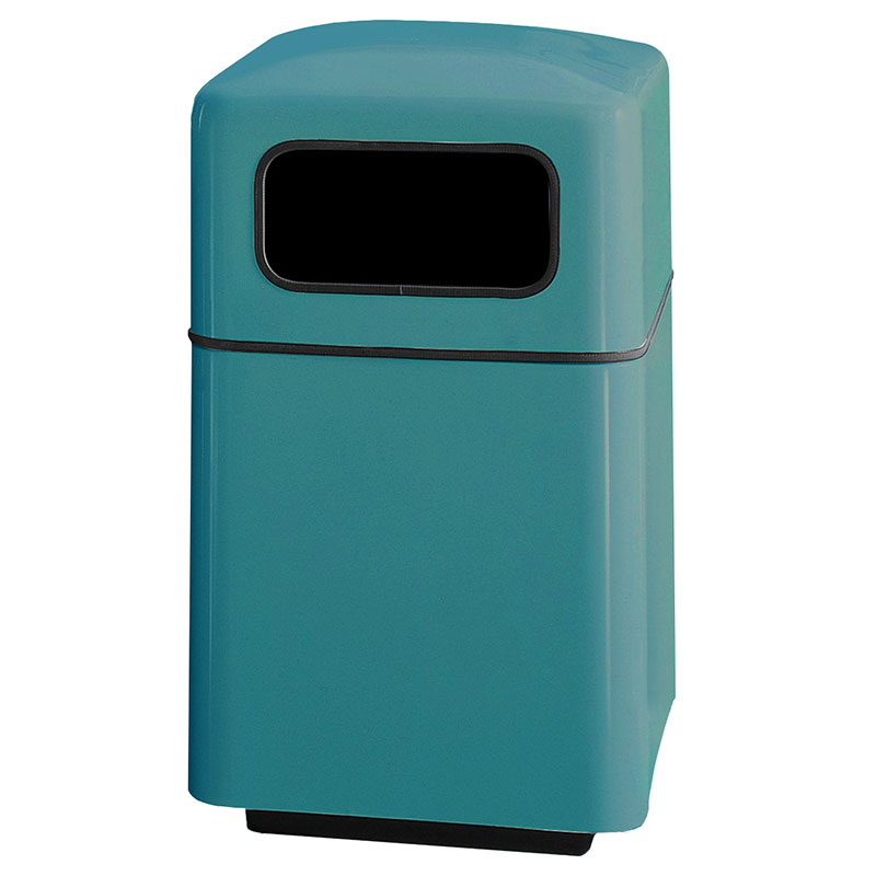 Rubbermaid FGFG2438SQPLSGN 40-gal Square Waste Receptacle - Covered Top, Fiberglass, Sea Green