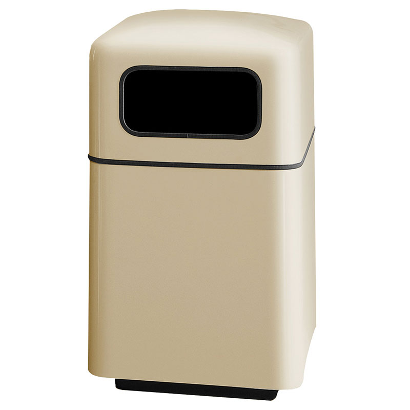 Rubbermaid FGFG2438SQPLWMB 40-gal Square Waste Receptacle - Covered Top, Fiberglass, Warm Brown
