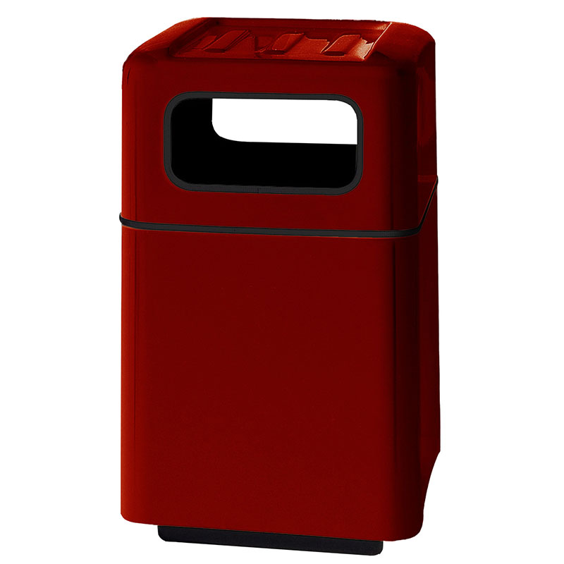 "Rubbermaid FGFG2438SQTRPLMN 40-gal Foodcourt Waste Receptacle - 24"" Square, Maroon"