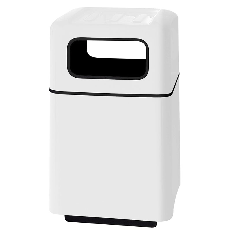 "Rubbermaid FGFG2438SQTRPLWH 40-gal Foodcourt Waste Receptacle - 24"" Square, White"