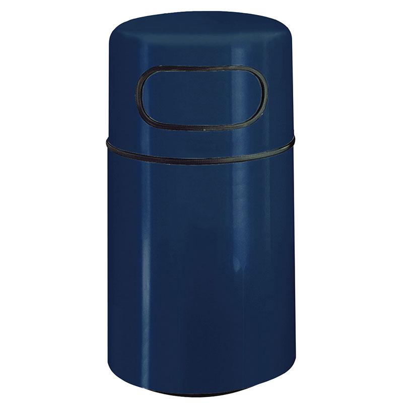 "Rubbermaid FGFG2439DRPLNBL 32-gal Round Waste Receptacle - Fire-Safe, 24x39"" Fiberglass, Navy Blue"