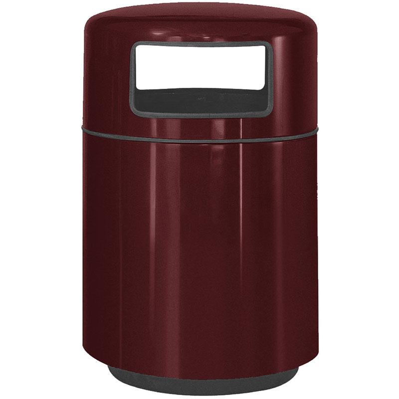 Rubbermaid FGFG2439PLBYW 36-gal Waste Receptacle - Covered Top, Fiberglass, Burgundy Wine