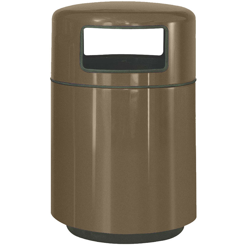 Rubbermaid fgfg2439plbz 36 gal waste receptacle covered top fiberglass bronze - Covered wastebasket ...