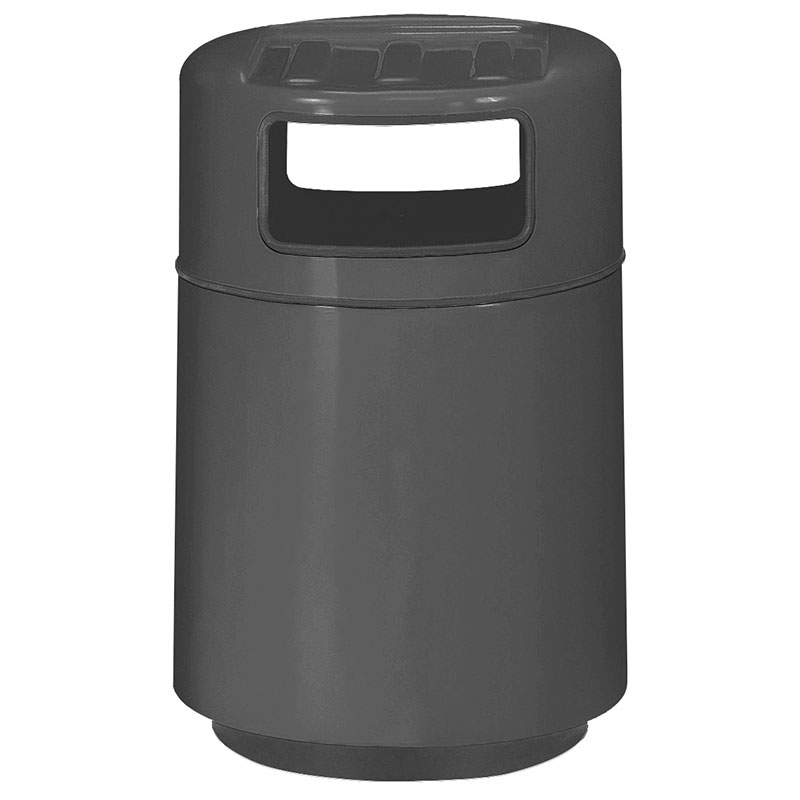 Rubbermaid FGFG2439TRPLCH 32-gal Foodcourt Waste Receptacle - Covered Tray Top, Fiberglass, Charcoal