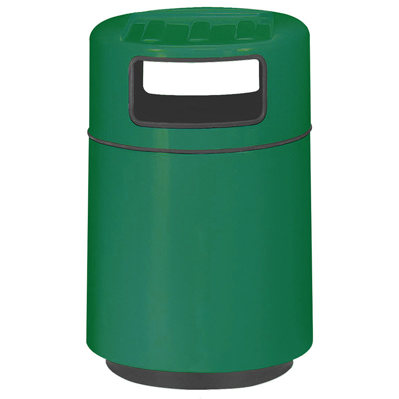 Rubbermaid FGFG2439TRPLEGN 32-gal Foodcourt Waste Receptacle - Covered Tray Top, Fiberglass, Empire Green