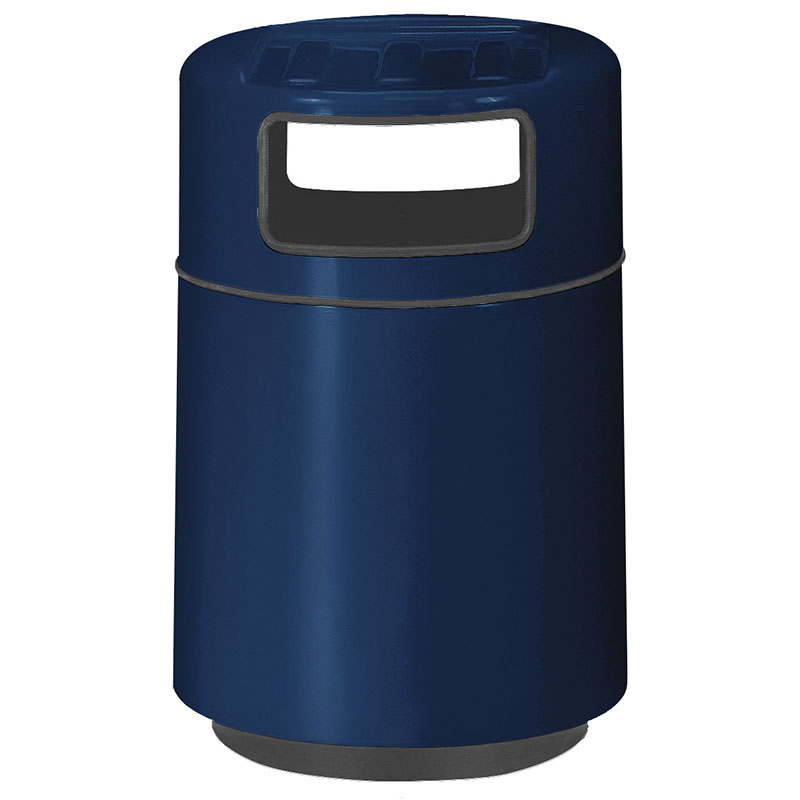Rubbermaid FGFG2439TRPLNBL 32-gal Foodcourt Waste Receptacle - Covered Tray Top, Fiberglass, Navy Blue
