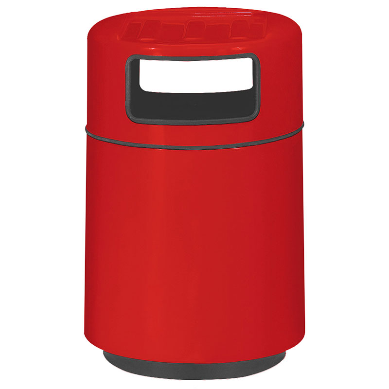Rubbermaid FGFG2439TRPLRD 32-gal Foodcourt Waste Receptacle - Covered Tray Top, Fiberglass, Red