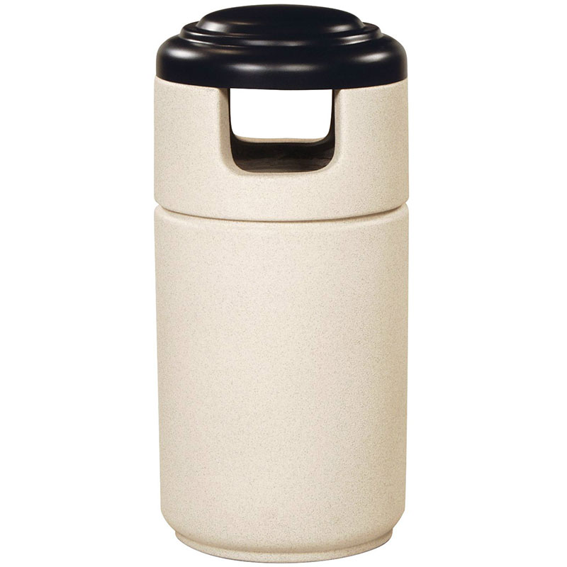 Rubbermaid FGFGC2044PLSENCR 23-gal Cornerstone Waste Receptacle - Covered Top, Fiberglass, Sand Concrete