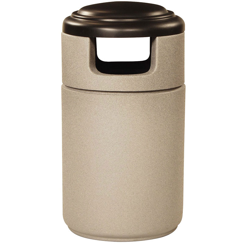 Rubbermaid FGFGC2446PLSENC 40-gal Cornerstone Waste Receptacle - Covered Top, Fiberglass, Sand Concrete