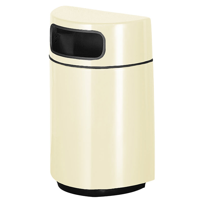 Rubbermaid FGFGH2436PLAL 18-gal Waste Receptacle - Half Round Open Front, Fiberglass, Almond