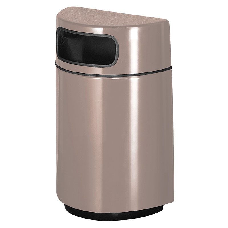 Rubbermaid FGFGH2436PLGE 18-gal Waste Receptacle - Half Round Open Front, Fiberglass, Greige