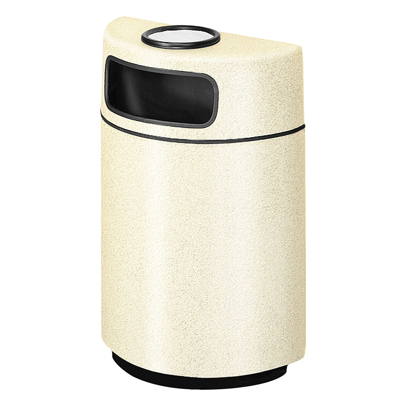 Rubbermaid FGFGH2436SUPLAL 18-gal Ash/Trash Receptacle - Half Round Open Front, Fiberglass, Almond