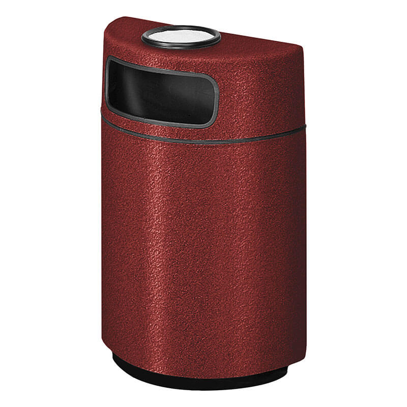 Rubbermaid FGFGH2436SUPLBY 18-gal Ash/Trash Receptacle - Half Round Open Front, Fiberglass, Burgundy