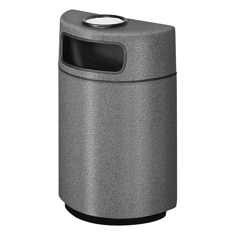 Rubbermaid FGFGH2436SUPLCH 18-gal Ash/Trash Receptacle - Half Round Open Front, Fiberglass, Charcoal