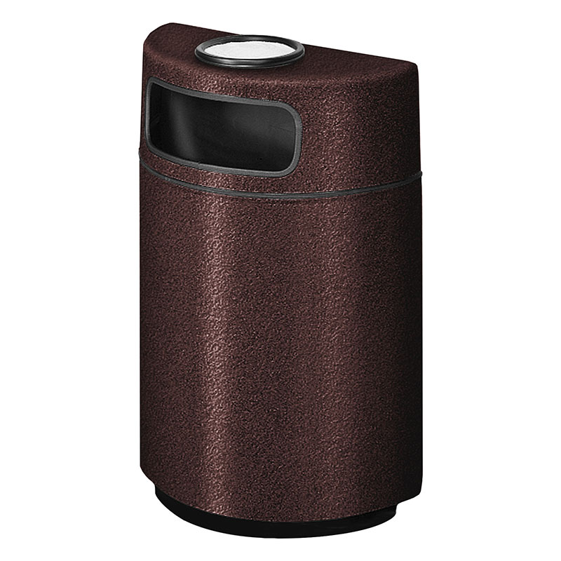 Rubbermaid FGFGH2436SUPLDBN 18-gal Ash/Trash Receptacle - Half Round Open Front, Fiberglass, Dark Brown