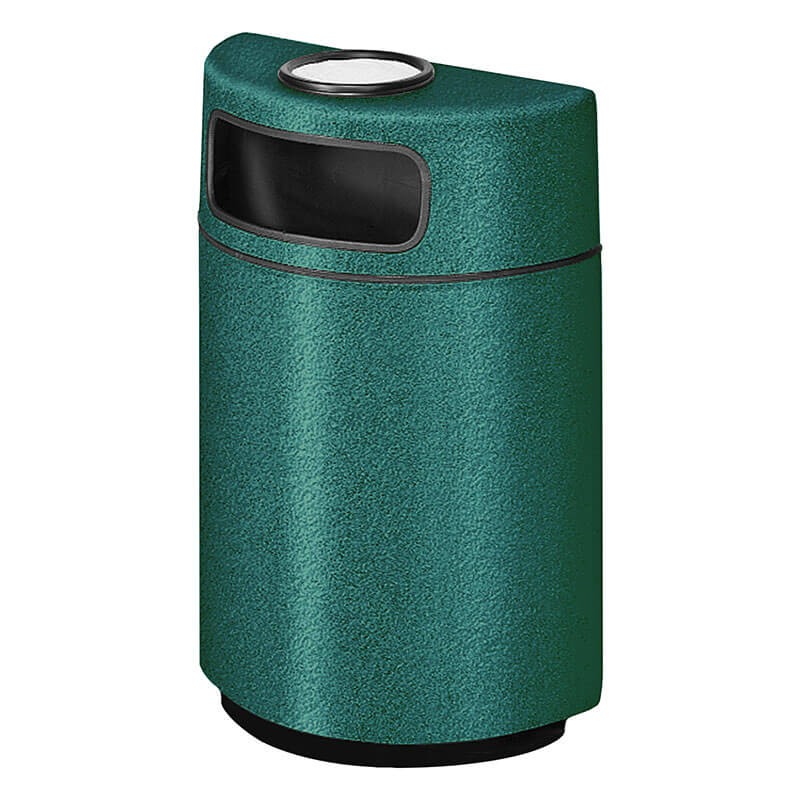 Rubbermaid FGFGH2436SUPLFGN 18-gal Ash/Trash Receptacle - Half Round Open Front, Fiberglass, Forest Green