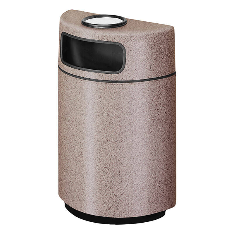Rubbermaid FGFGH2436SUPLGE 18-gal Ash/Trash Receptacle - Half Round Open Front, Fiberglass, Greige