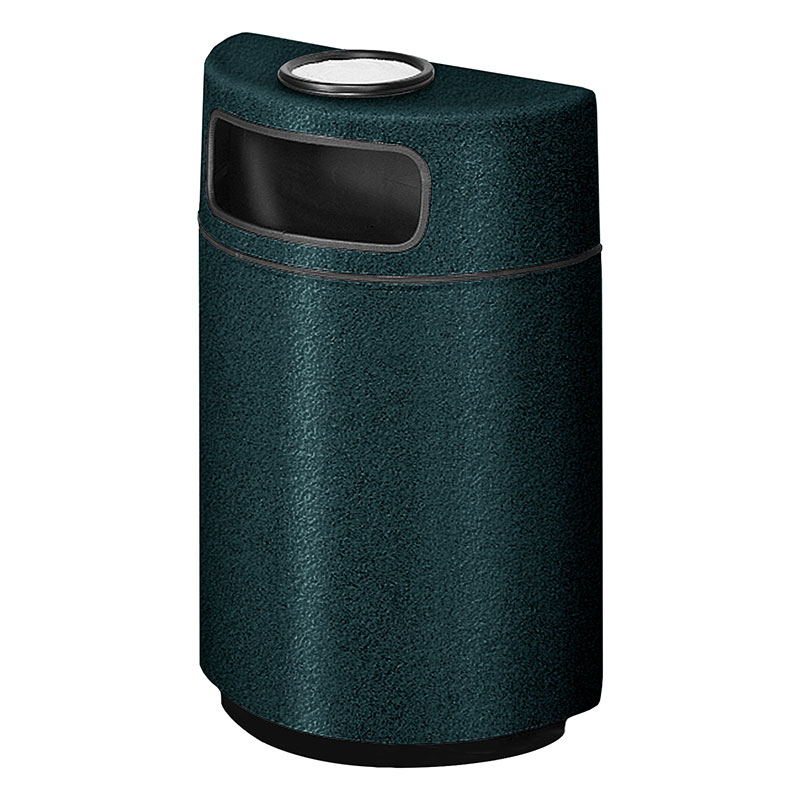 Rubbermaid FGFGH2436SUPLHGN 18-gal Ash/Trash Receptacle - Half Round Open Front, Fiberglass, Hunter Green