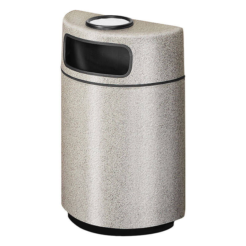 Rubbermaid FGFGH2436SUPLLGR 18-gal Ash/Trash Receptacle - Half Round Open Front, Fiberglass, Light Gray