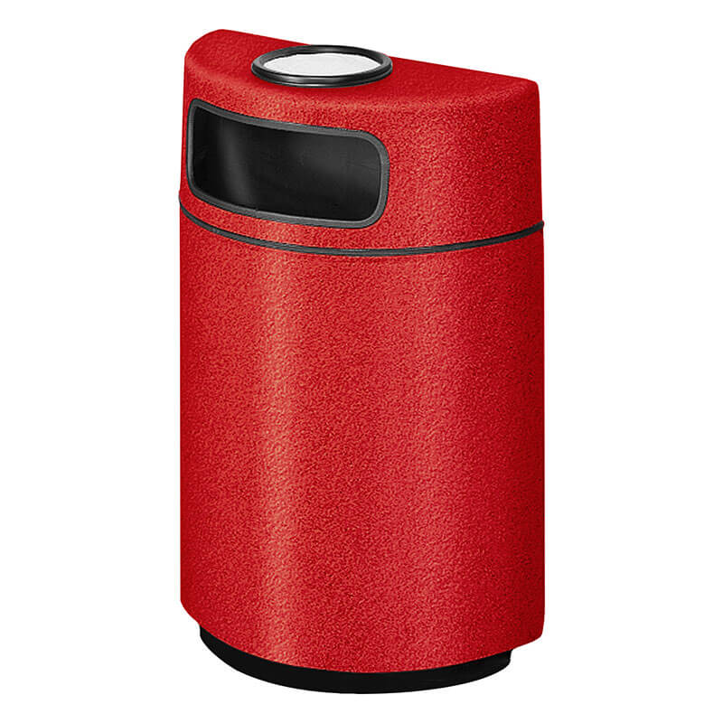 Rubbermaid FGFGH2436SUPLRD 18-gal Ash/Trash Receptacle - Half Round Open Front, Fiberglass, Red
