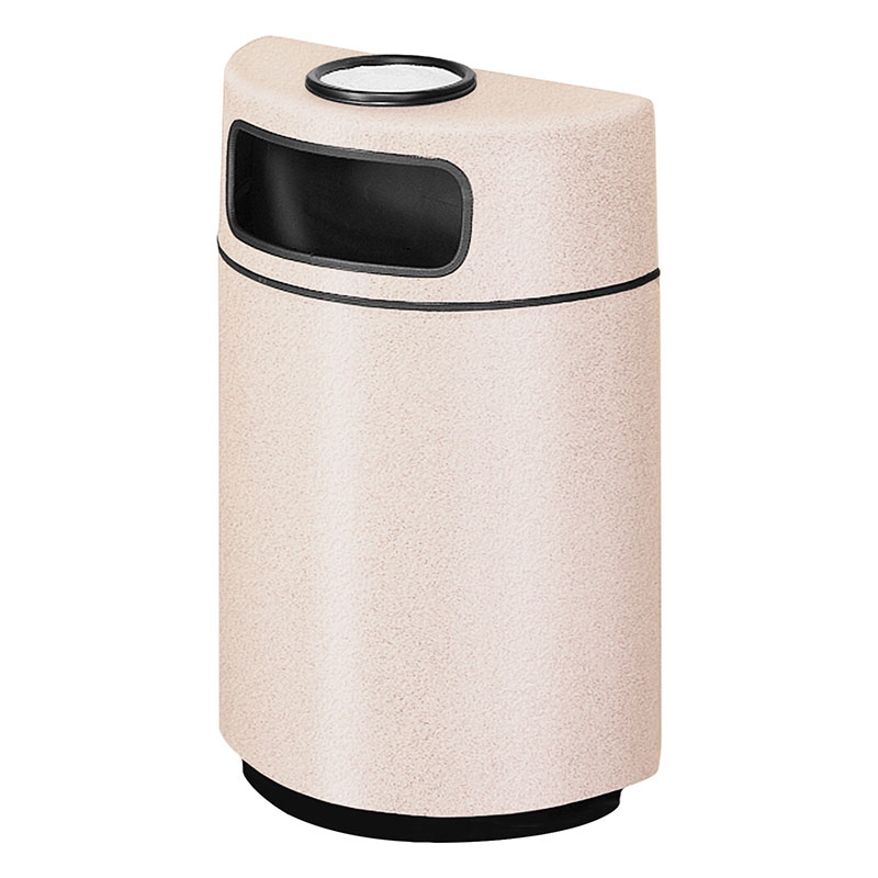 Rubbermaid FGFGH2436SUPLSBG 18-gal Ash/Trash Receptacle - Half Round Open Front, Fiberglass, Sedona Beige