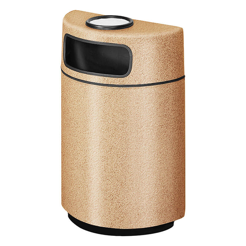 Rubbermaid FGFGH2436SUPLTN 18-gal Ash/Trash Receptacle - Half Round Open Front, Fiberglass, Tan
