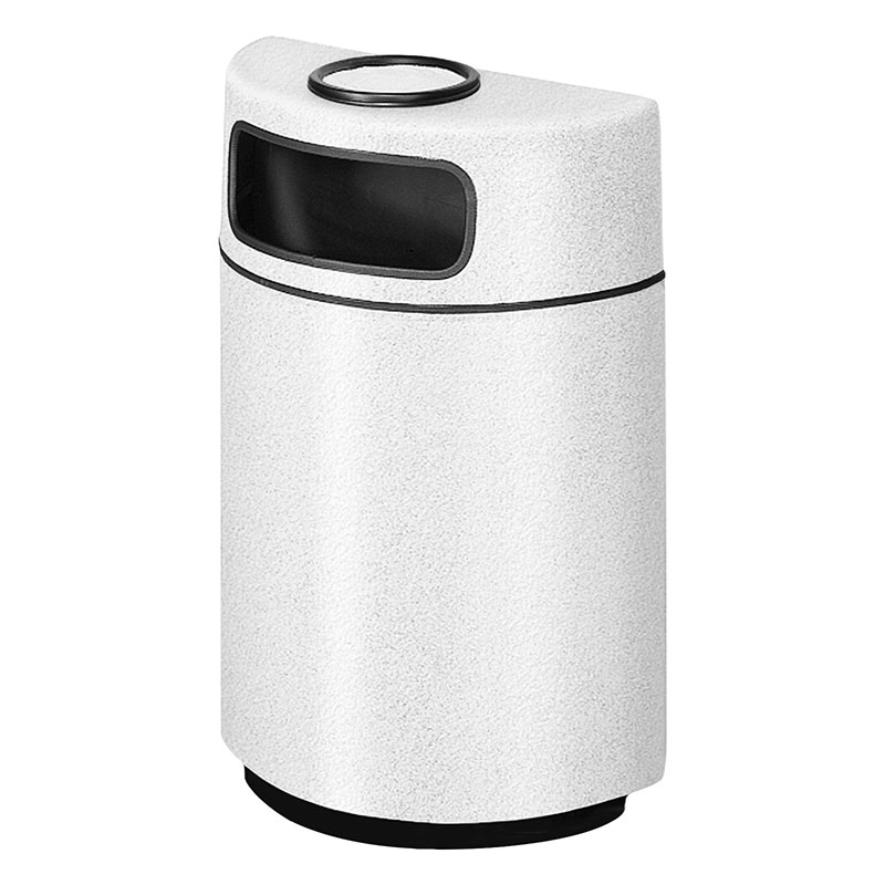 Rubbermaid FGFGH2436SUPLWH 18-gal Ash/Trash Receptacle - Half Round Open Front, Fiberglass, White