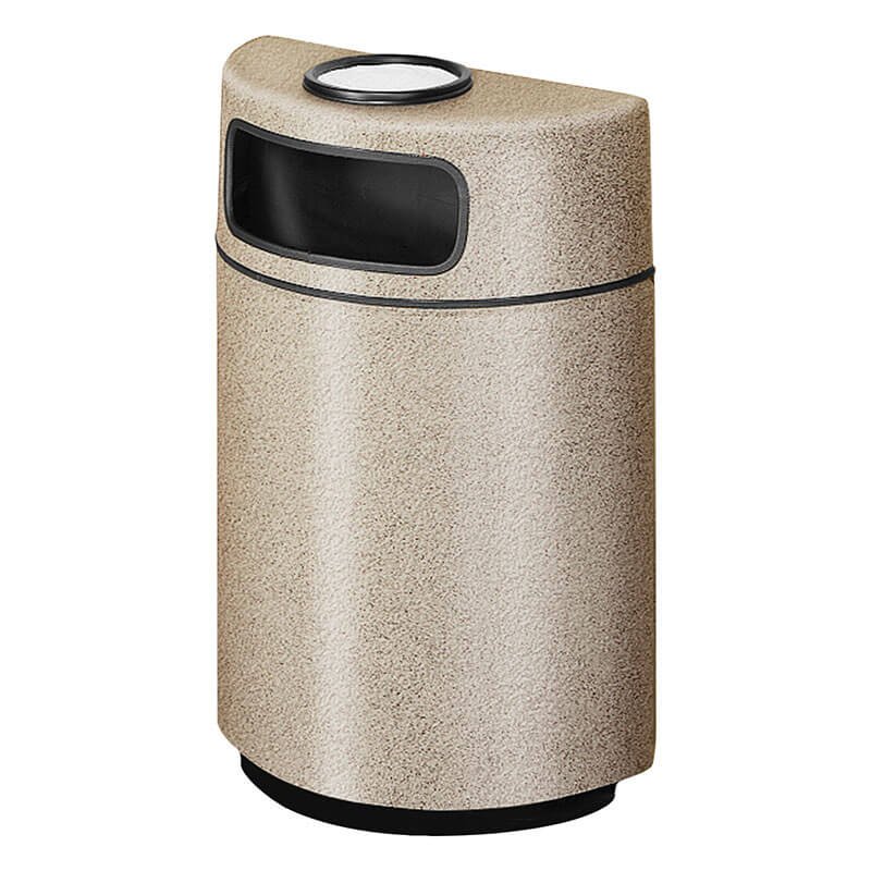 Rubbermaid FGFGH2436SUPLWMB 18-gal Ash/Trash Receptacle - Half Round Open Front, Fiberglass, Warm Brown